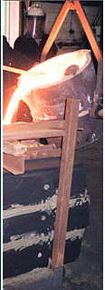 A picture of metal casting in operation.